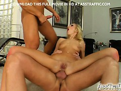 Angelina has an asshole that stretches to the size of a small couch! She is even able to fist her own ass. Two cocks pounder her and load her face with cum