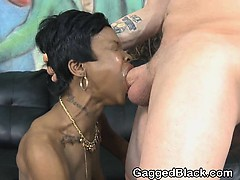 Short Haired Black Ghetto Slut Face Fucked And Slapped
