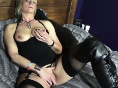 mature british woman in boots playing