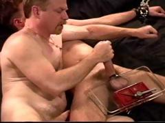 I crush a young super HUNG dudes big balls in a vise as a jack him off.