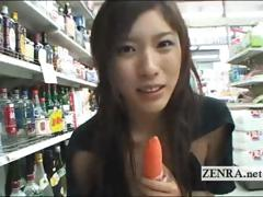 Kinky Wet Fingering Action In A Public Japanese Store
