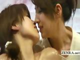 Subtitled Japanese lesbian deep kissing oil massage