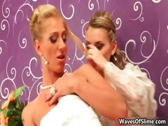 Hot blonde bride gets her sweet shaved part1