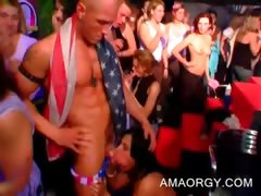CFNM party tramps giving fellatios to strippers