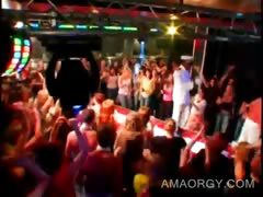 Afro hot stripper dances with girls at a sex party